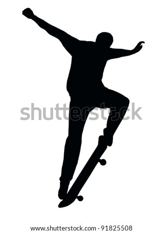 Skateboarding Skater do Nosegrind with Board Silhouette - stock photo