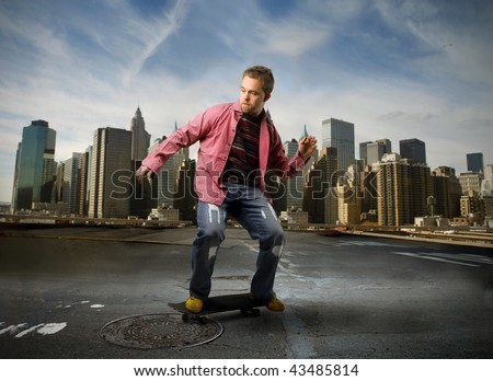 skater in a city street - stock photo