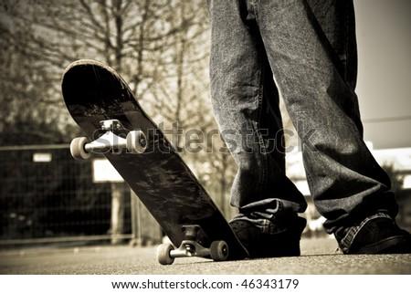 skater legs - stock photo