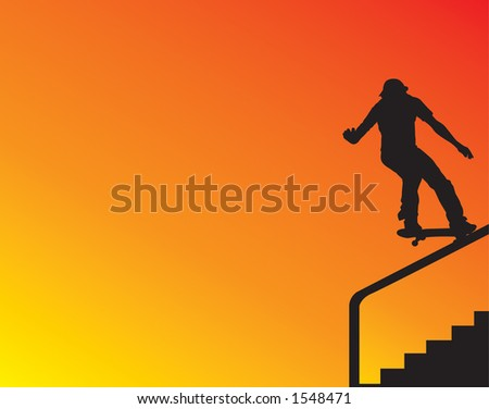 Skater silhouette grinding a stair rail. - stock photo