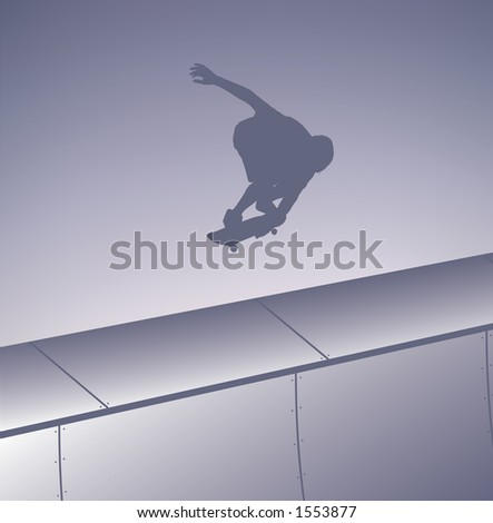 Skater silhouette indy grabbing out of the half pipe.  Clipping Path Included. - stock photo