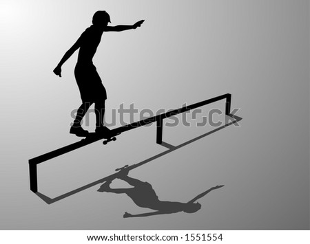 Skater silhouette performing a backside boardslide.  Clipping Path Included. - stock photo