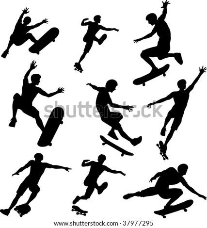 Skater Silhouettes - stock photo