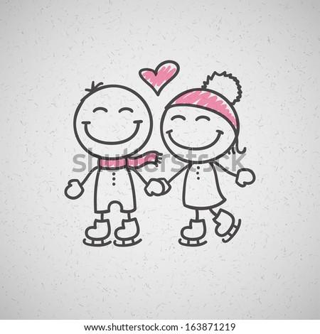 skaters couple hand drawn illustration - stock photo