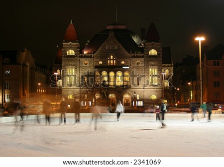 Skating in Helsinki - stock photo