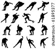 Skating man silhouette set for design use - stock photo