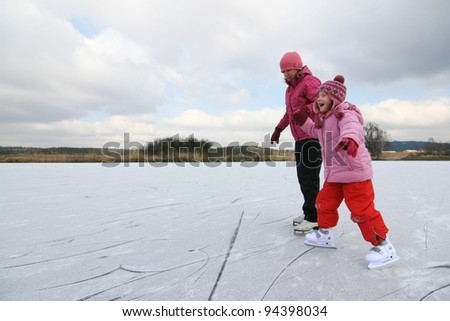 skating - mother and daughter