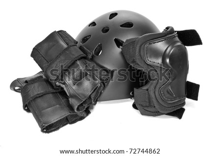 skating protection equipment, helmet and knee and wrist protectors, on a white background - stock photo