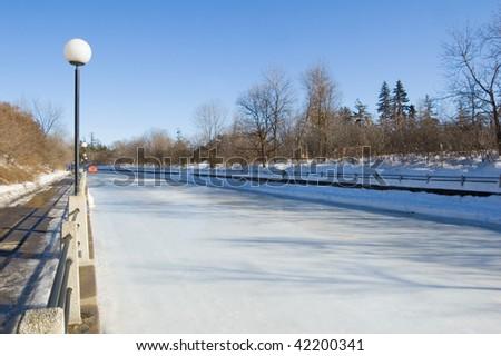 Skating ring of Rideau Canal, Ottawa. - stock photo