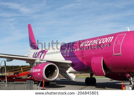 SKAVSTA, SWEDEN - MARCH 12: Detail of Wizzair Airbus A320 at Stockholm Skavsta Airport, on March 12, 2014 in Skavsta, Sweden. Wizzair is a rapidly growing low-cost carrier based in Hungary.