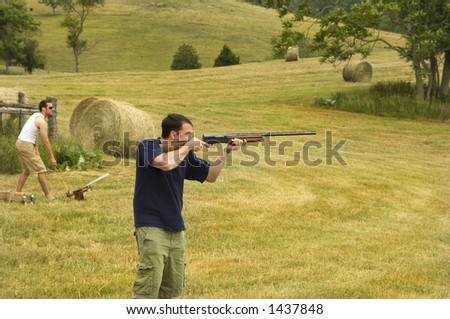 Skeet Shooting On The Farm In the Pasture