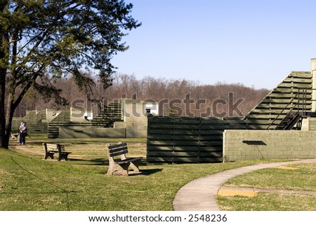 Skeet/Trap fields photographed at a northern Virginia gun club. - stock photo