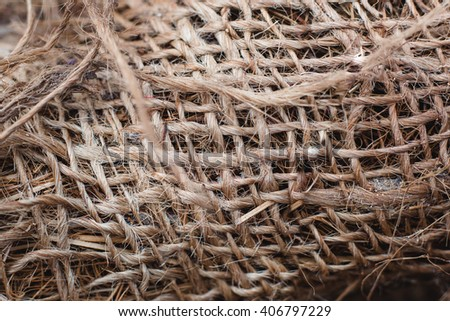 Skein of jute twine. Clew of natural rope. Close up - stock photo