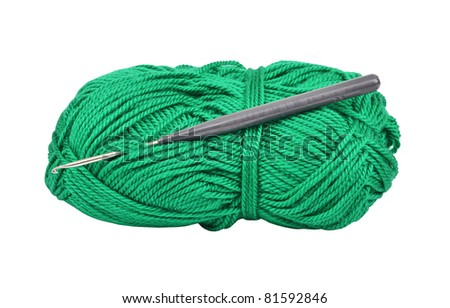 Skein of wool and crochet hook, isolated on a white background - stock photo