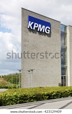 Skejby, Denmark - May 16, 2016: KPMG offices in Denmark. KPMG is one of the largest professional services companies in the world and one of the big four auditors
