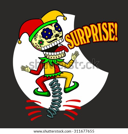 """Skeletal Clown jumps on a spring-box and cries: """"Surprise!"""" - stock photo"""