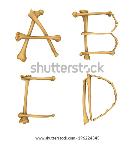 Skeleton alphabet A-D isolated on white background