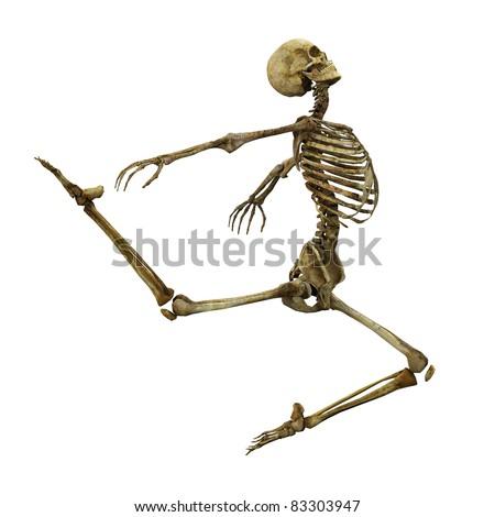 Skeleton ballet jump side view - stock photo