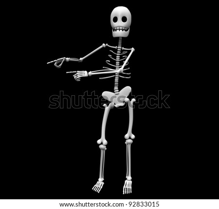 skeleton black background - stock photo