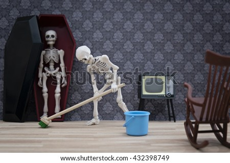 Skeleton cleaning the living room
