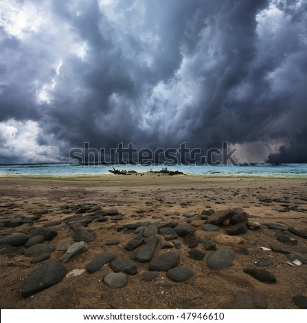 skeleton coast - stock photo