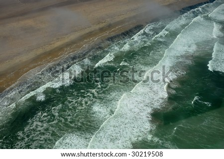 Skeleton coast from the air - stock photo