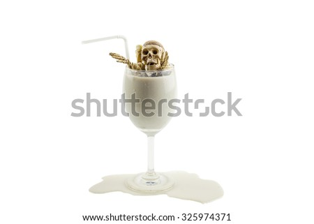 Skeleton ghost cocktail on white background - stock photo