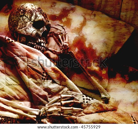 skeleton in a blood stained bed - stock photo