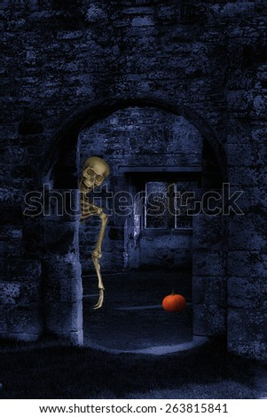 Skeleton in abbey ruins at Halloween - stock photo