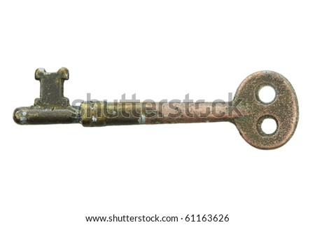 Skeleton key isolated on a white background with clipping path included. - stock photo
