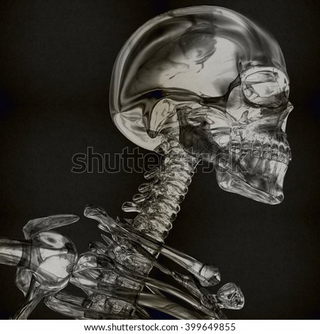 Skeleton made from glass or crystal. 3D Illustration.