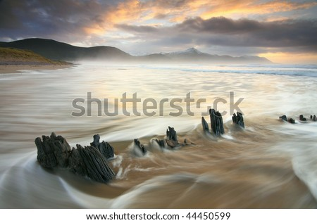 Skeleton of The Sunbeam ship wreck,Rossbeigh Beach,Glenbeigh,Kerry,Ireland - stock photo