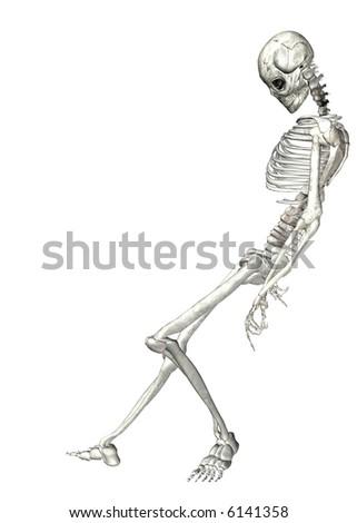 Skeleton on a white background - stock photo