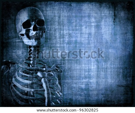 Skeleton on grungy blue parchment, with space for your text - 3d render with digital painting.