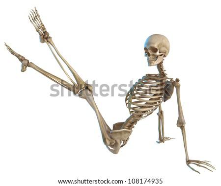 skeleton pin up pose - stock photo