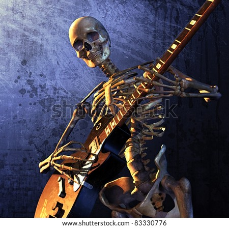 Skeleton playing guitar - combines 3d render with digital painting. - stock photo