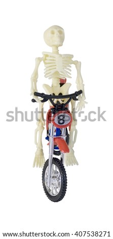 Skeleton Riding Motorcycle Front View - path included - stock photo