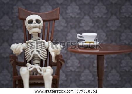 skeleton rocking chair - stock photo