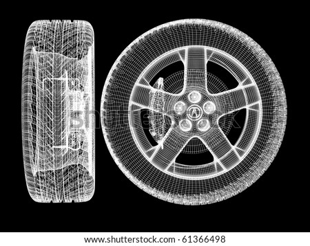 skeleton tires isolated on white background. High resolution image - stock photo