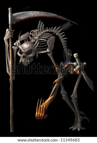 Skeleton warrior with a scythe