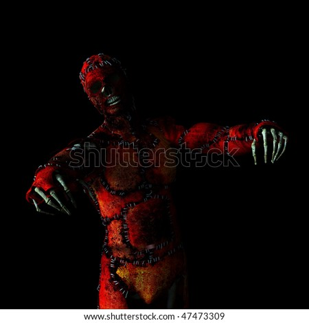 Skeleton wearing a bloody skin suit stitched together, his arms wide with a agonizing look.  Happy Halloween. - stock photo