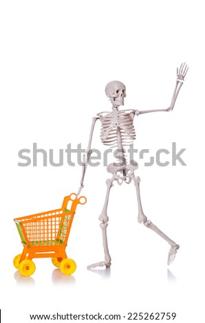 Skeleton with shopping cart trolley isolated on white - stock photo