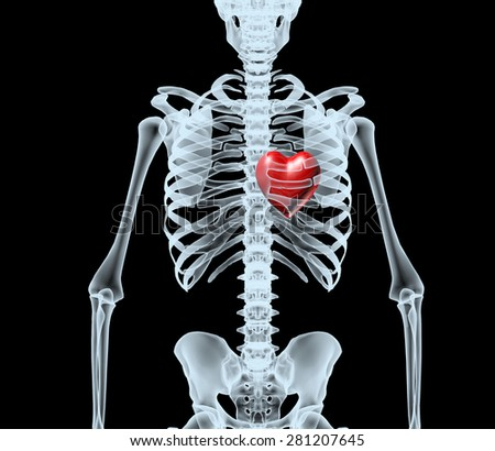 skeleton X-Ray displaying red heart. isolated 3d illustration on a black background