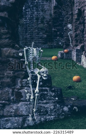 Skeletons at abbey ruins for Halloween - stock photo