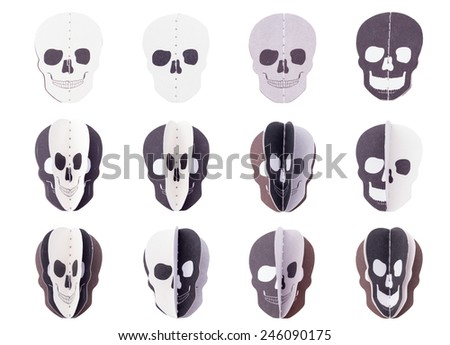 Skeletons head paper cut with layer on White Isolated background