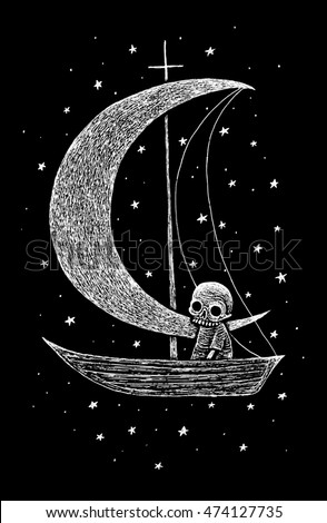 Skeletons world, illustration with  dead characters Skeleton sitting in a boat with moon and stars. Black and white illustration, inversion technique