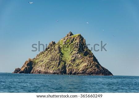 Skellig Michael, UNESCO World Heritage Site, Kerry, Ireland. Star Wars The Force Awakens Scene filmed on this Island. wild atlantic way - stock photo