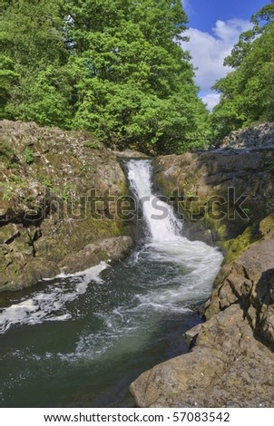 Skelwith Force waterfall on the river Brathay, in the English Lake District.