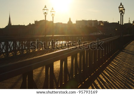 Skeppsholmen Bridge in the evening sun in Stockholm in Sweden in Europe - stock photo