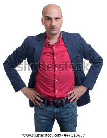 skeptical bald man looking at camera. Isolated on white background - stock photo